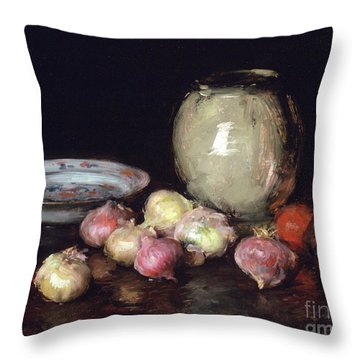 Just Onions, 1912 Throw Pillow by William Merritt Chase