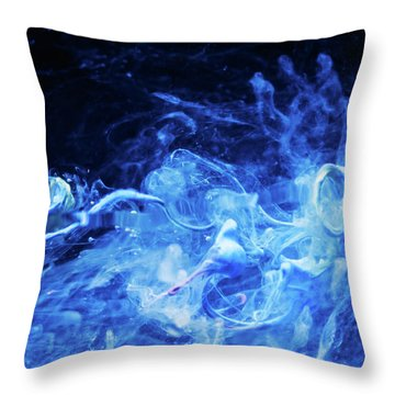 Just Passing By - Blue Art Photography Throw Pillow