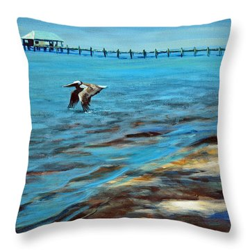 Throw Pillow featuring the painting Just Passing By by Suzanne McKee