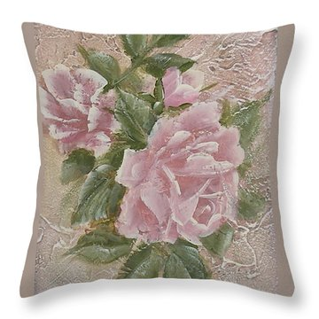 Throw Pillow featuring the painting Just Roses by Chris Hobel