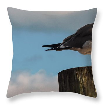 Just Standing On The Dock Throw Pillow by Phillip Burrow