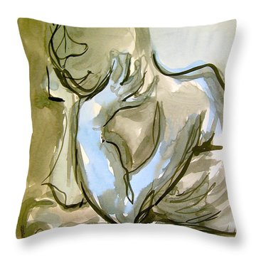 Just Thinking Throw Pillow by Mary Schiros