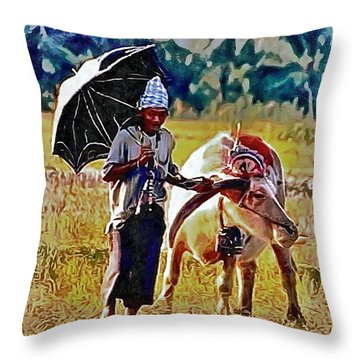 Just Walking His Water Buffalo Throw Pillow