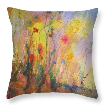 Throw Pillow featuring the painting Just Weeds by Mary Schiros