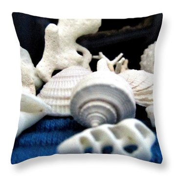Just White Seashell 1 Throw Pillow by Danielle  Parent