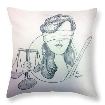 Justice Throw Pillow by Loretta Nash