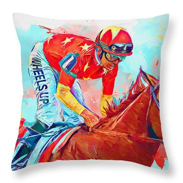 Justify Horse Throw Pillow