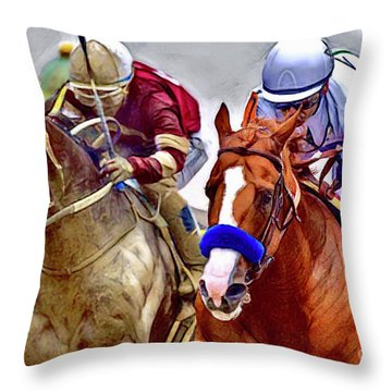 Justify In The Lead Throw Pillow