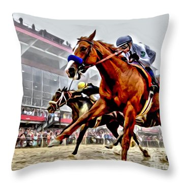 Justify Wins Preakness Throw Pillow