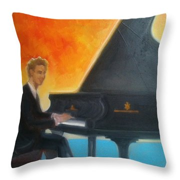 Justin Levitt At Piano Red Blue Yellow Throw Pillow