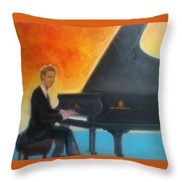 Justin Levitt At Piano Red Blue Yellow Throw Pillow