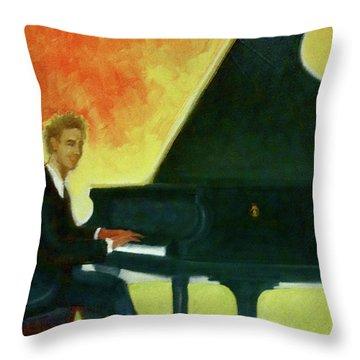 Justin Levitt Red Black Yellow Throw Pillow