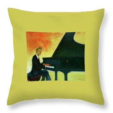 Justin Levitt Red Black Yellow Throw Pillow