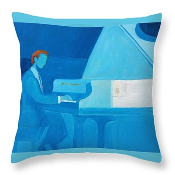 Justin Levitt Steinway Piano Blue Throw Pillow
