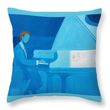 Justin Levitt Steinway Piano Blue Throw Pillow