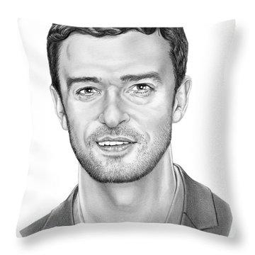 Justin Timberlake Throw Pillow by Murphy Elliott