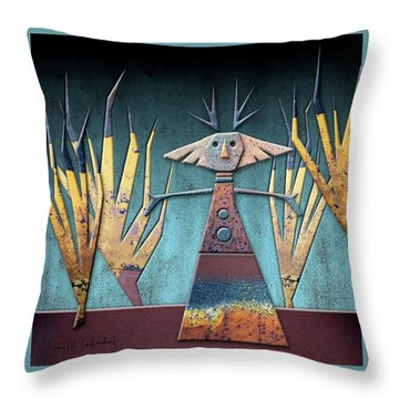 Justine The Goddess Of June Throw Pillow by Joan Ladendorf