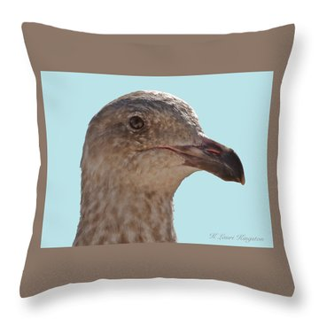Juvenile Western Gull Bird Throw Pillow by K L Kingston