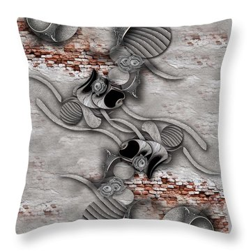Throw Pillow featuring the digital art Juxtaposed Compilation Constructed by Carmen Fine Art