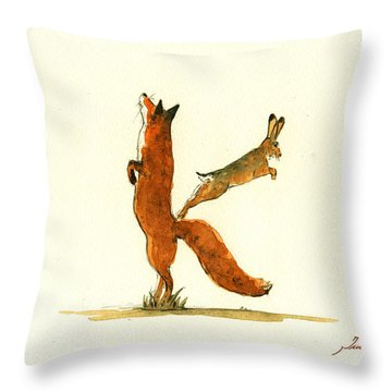 K Letter Woodland Alphabet Throw Pillow