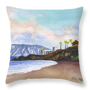 Throw Pillow featuring the painting Kaanapali Beach by Darice Machel McGuire