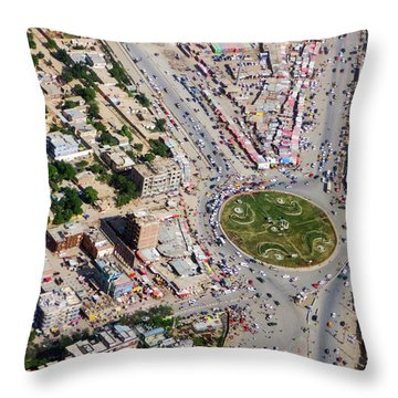 Kabul Traffic Circle Aerial Photo Throw Pillow