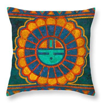 Kachina Sun Spirit Throw Pillow by Linda Henry