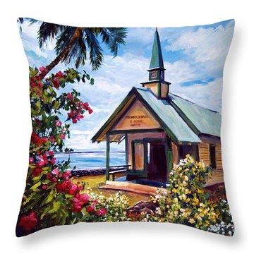 kahaalu Church Hawaii Throw Pillow