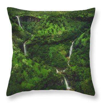 Kahili Falls Aerial Throw Pillow