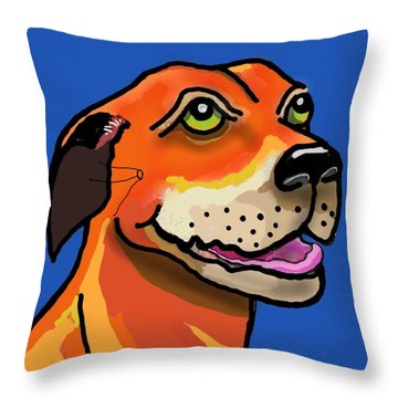 Kai With Blue Background Throw Pillow