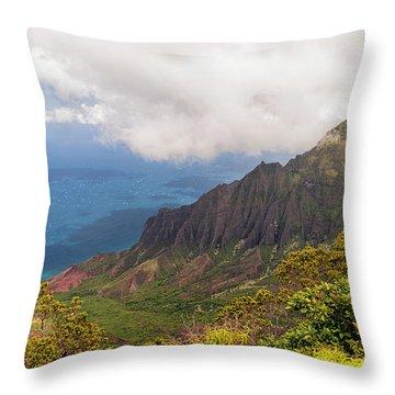 Kalalau Valley Throw Pillow by Brian Harig