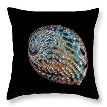 Throw Pillow featuring the photograph Kaleidoscope Abalone by Rikk Flohr