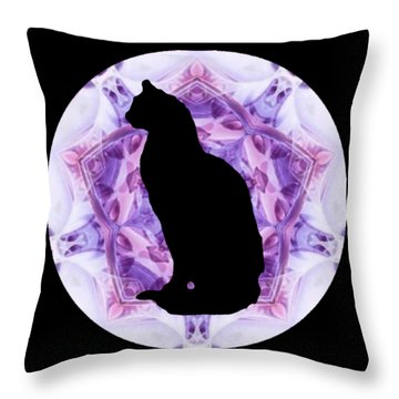 Kaleidoscope Cat Silhouette Throw Pillow