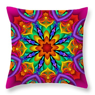 Kaleidoscope Flower 01 Throw Pillow