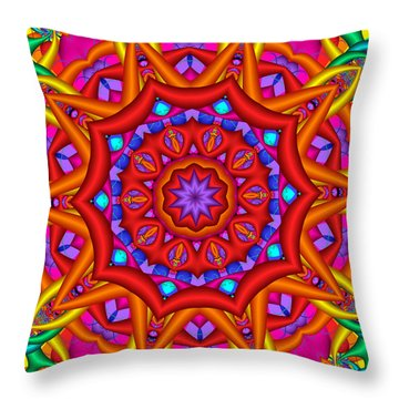 Kaleidoscope Flower 02 Throw Pillow