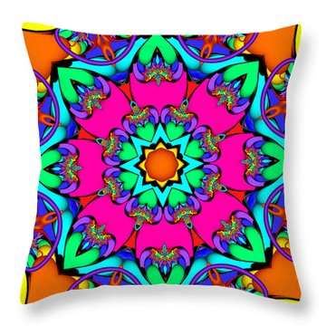 Kaleidoscope Flower 03 Throw Pillow