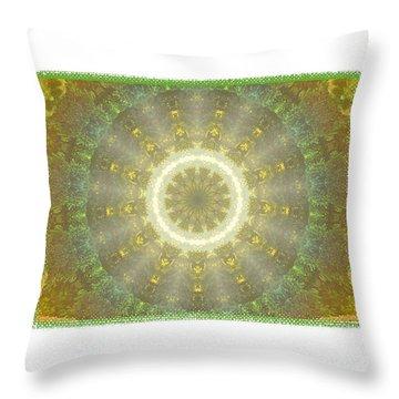 Kaleidoscope Golden Green Throw Pillow