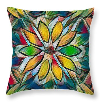 Kaleidoscope In Stained Glass Throw Pillow
