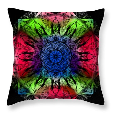Kaleidoscope - Warm And Cool Colors Throw Pillow