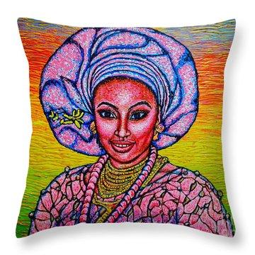Throw Pillow featuring the painting Kalimba De Luna 2 by Viktor Lazarev