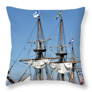 Throw Pillow featuring the photograph Kalmar Nyckel - Docked In Lewes Delaware by Brendan Reals
