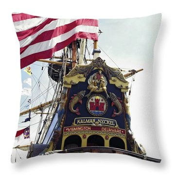 Kalmar Nyckel Tall Ship Throw Pillow by Sally Weigand