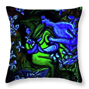 Kalyana Sawgandhika Flowers Throw Pillow by Latha Gokuldas Panicker