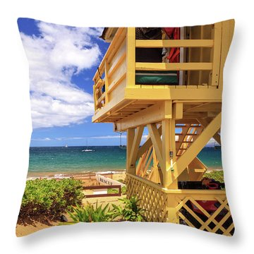 Throw Pillow featuring the photograph Kamaole Beach Lifeguard Tower by James Eddy