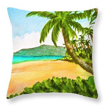 Kamaole Beach Maui Hawaii Art Painting #349 Throw Pillow by Donald k Hall