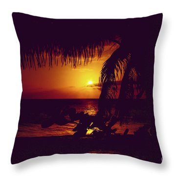 Throw Pillow featuring the photograph Kamaole Tropical Nights Sunset Gold Purple Palm by Sharon Mau
