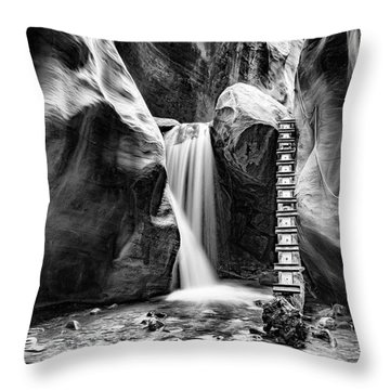Kanarraville Falls Bw Throw Pillow