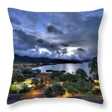 Kaneohe Bay Night Hdr Throw Pillow