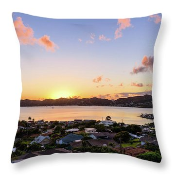 Kaneohe Bay Sunrise 1 Throw Pillow