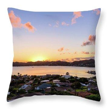 Kaneohe Bay Sunrise 1 Throw Pillow